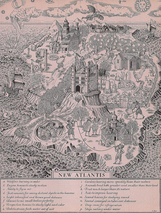 Illustration of 'New Atlantis' by Sir Francis Bacon from his utopian novel of 1627