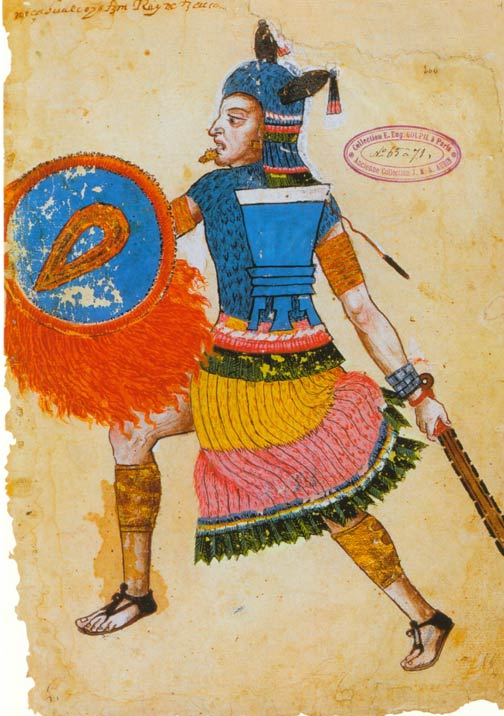 Nezahualcoyotl (1402-1472), ruler of Texcoco, as depicted in the 16th century Codex Ixtlilxochitl.