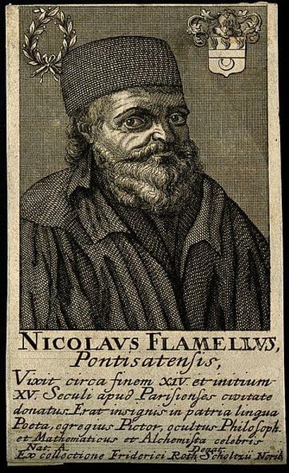 Nicolas Flammel. Line engraving.