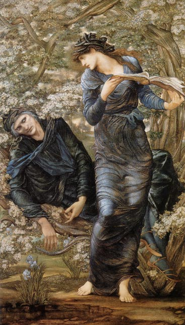 Nimue, the Lady of the Lake, shown holding the infatuated Merlin trapped and reading from a book of spells, in The Beguiling of Merlin by Edward Burne-Jones.