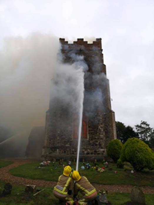 Norfolk Fire and Rescue Service fighting the fire at the medieval church. (Norfolk Fire & Rescue Service / Facebook)