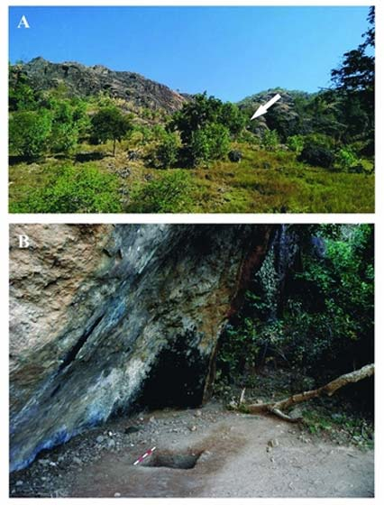 A) Northern view of the volcanic ridge where Tron Bon Lei is located. The white arrow indicates the general location of the rockshelters (photograph by permission of Putu Yuda); B) pit B looking east from the southern edge of the rockshelter.
