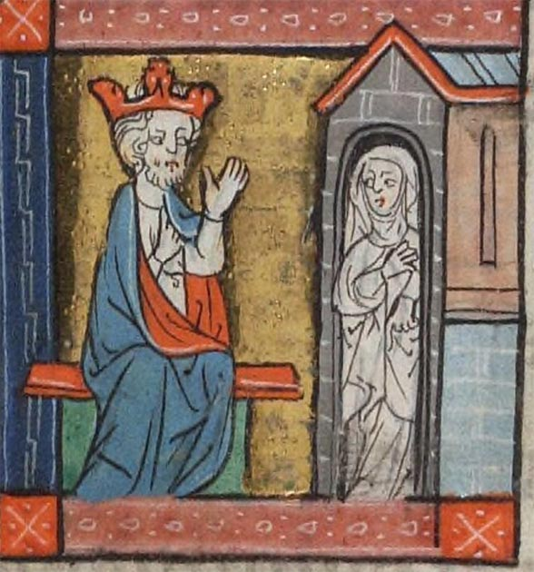 A king consults an anchorite. Beinecke MS 404 (Rothschild Canticles), Yale Library
