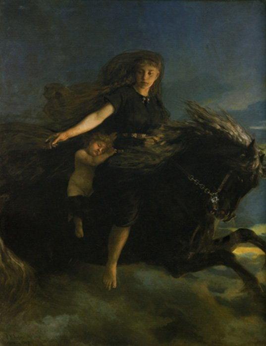 Nott rides her horse in this 19th-century painting by Peter Nicolai Arbo.
