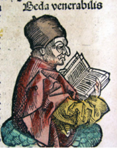 Nuremberg Chronicle's depiction of the Venerable Bede.