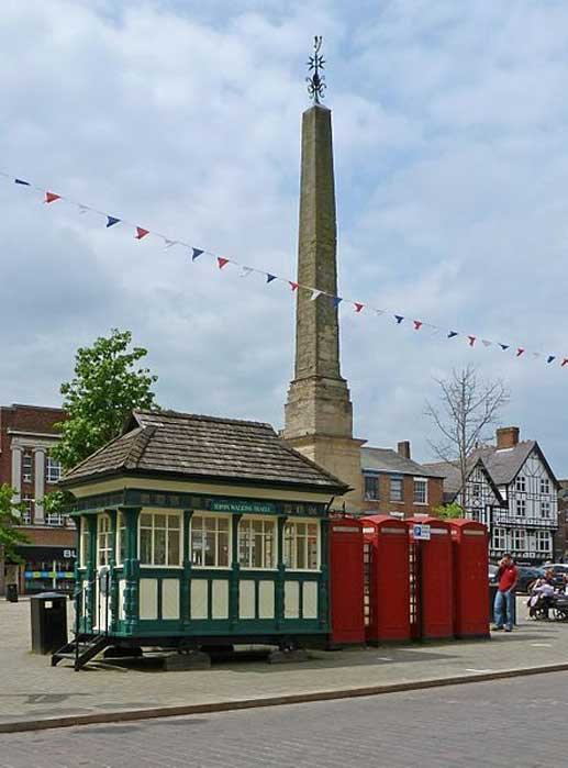 Obelisk, Cabmen's Shelter and Telephone Boxes, Market Place, Ripon.