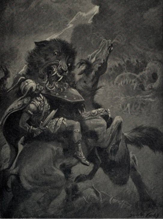 Odin and Fenris, from Myths of the Norsemen from the Eddas and Sagas, 1909.