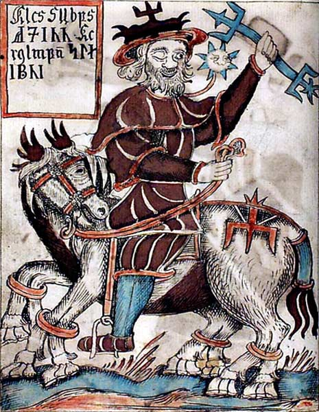An illustration of Odin riding Sleipnir, the eight-legged horse from an 18th-century Icelandic manuscript.