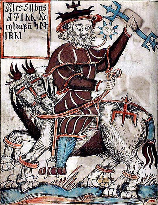 Odin riding Sleipnir, from 18th century Icelandic manuscript.