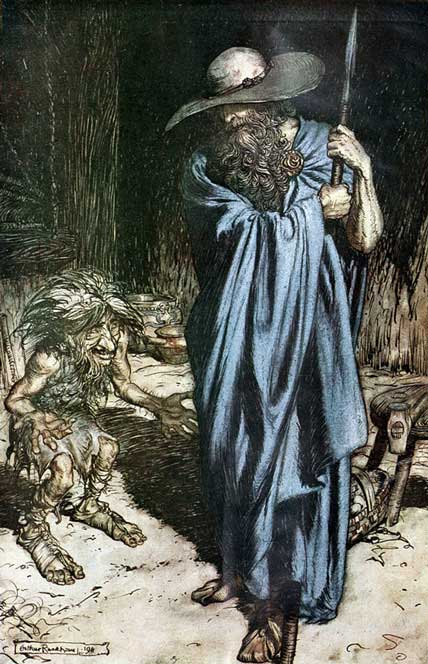 Odin in blue as the Wanderer, with Mime