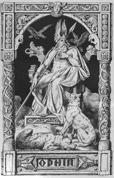 Odin on a throne, his spear in hands, flanked by the ravens Hugin and Munin and the wolves Geri and Freki , woodcut by Johannes Gehrts from Valhalla. Germanic deities and heroic legends. (Public Domain)