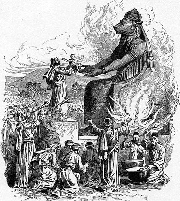 Offering to Molech by throwing infants into the fire (public domain)