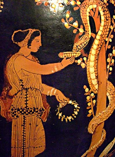 Oil Jar (lekythos) with the serpent-entwined apple tree in the Garden of the Hesperides. Greek made in Paestum South Italy 350-340 BC Terracotta.