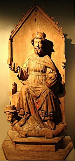 Statue of St. Olaf (Olav) in Austevoll Church.