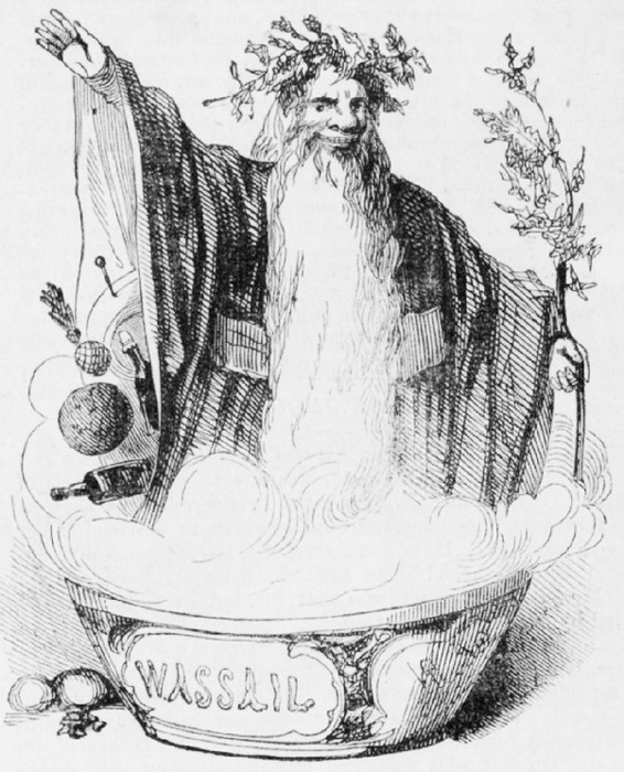 'Old Christmas', 1842. He wears a crown of holly upon his head.