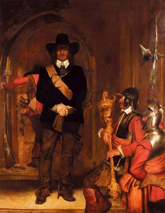 Oliver Cromwell imprisoning Charles I. (Public Domain)