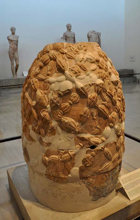 The Omphalos Stone in the Museum of Delphi.