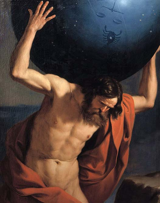 One of the giant Titans, Atlas, who was punished to bear the heavens on his shoulders for all time
