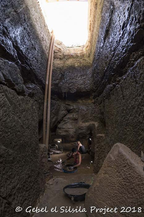 One of the two chambers is accessible and is being painstakingly investigated. (Courtesy of © Gebel el Silsila Project)