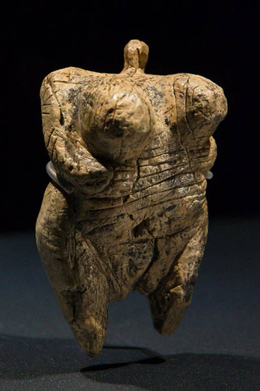"Original Venus from Hohlefels, mammoth ivory, Aurignacian, aged about 35-40,000 years. Discovered in September 2008 in the cave ""Hohlefels"", Ach Valley near Schelklingen, Germany."