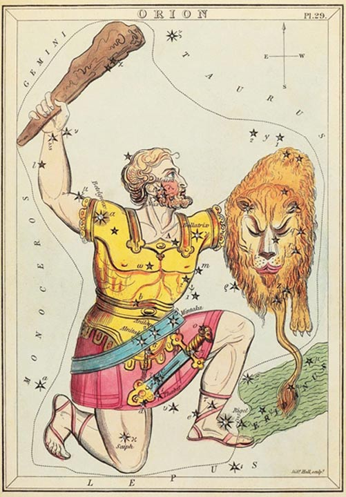 Fig 4. Orion depicted as Hercules, brandishing his club and the shield of the Nemean lion, plus a sword hanging from his belt. In comparison Gilgamesh was described as holding an axe and a bow, plus his sword, but they are both quite clearly manifestations of Orion.