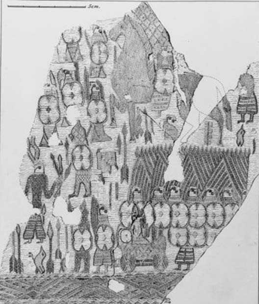 Oseberg textile fragment: Horned figure (left) with crossed spears facing a person wearing bear skin. (Drawing / Photo: Museum of Cultural History, Oslo)
