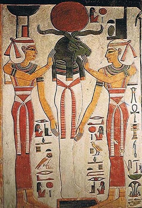 Osiris and Re merged into a single body, from the Litany of Re in the tomb of Nofretari