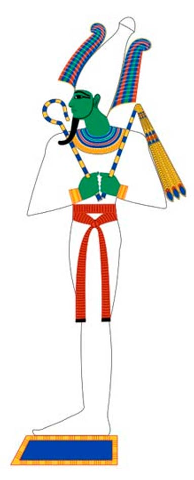 Osiris shown in typical mummy wrappings. Based on New Kingdom tomb paintings