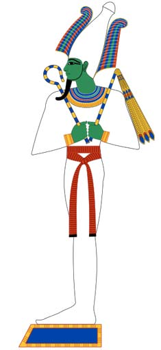 Osiris was the lord of the dead in the ancient Egyptian religion. Here, he is shown in typical mummy wrappings. Based on New Kingdom tomb paintings.