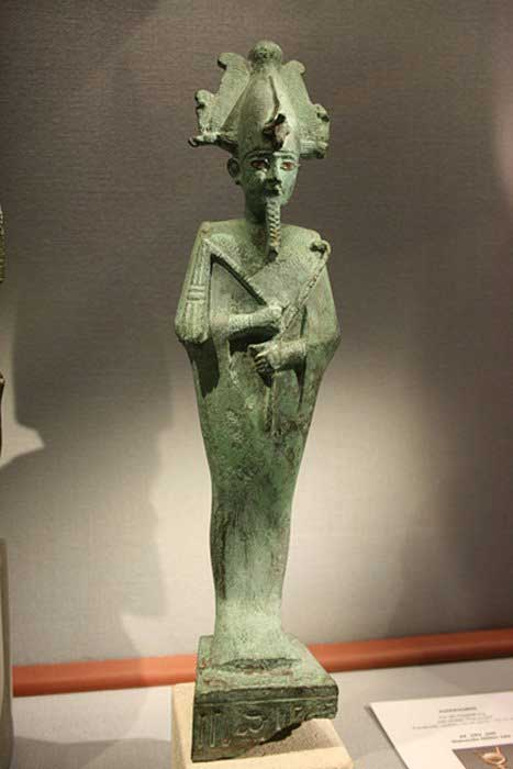 Osiris with an Atef-crown made of bronze in the Naturhistorisches Museum (Vienna).