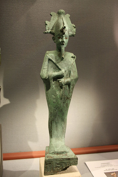 Osiris with an Atef-crown made of bronze in the Naturhistorisches Museum (Vienna)