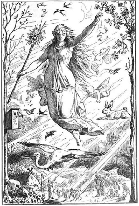Ostara (1884) by Johannes Gehrts. The goddess flies through the heavens surrounded by Roman-inspired putti, beams of light, and animals, including a rabbit. Germanic people look up at the goddess from the realm below.
