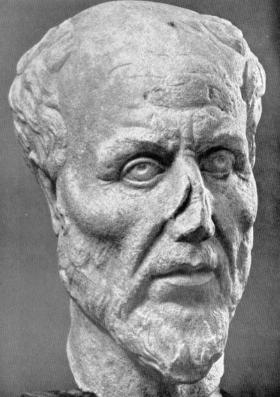 Marble head. Ostia Antica, Museo, inv. 68. Marble head broken through neck. Lower half of nose and rim of left ear damaged. One of four replicas which were all discovered in Ostia. The identification as Plotinus is plausible but not proven.