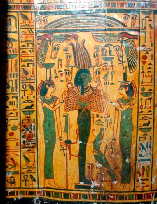 Outer coffin of Taywheryt depicting Osiris, Isis, and Nephthys. (CESRAS/CC BY NC SA 2.0)