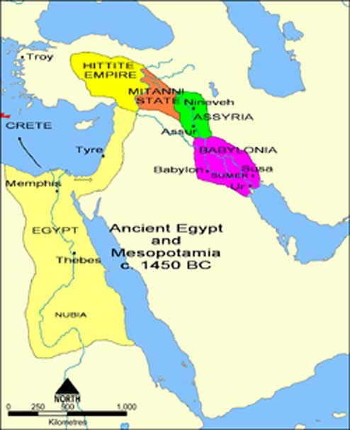 Overview map of the Ancient Near East in the 15th century BC (Middle Assyrian period), showing the core territory of Assyria with its two major cities