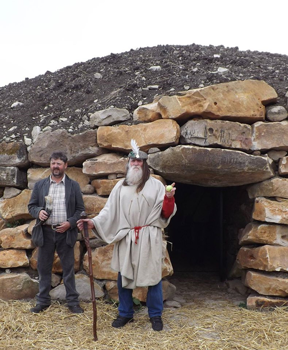 Mr Daw (left) and a Pagan at the opening ceremony of the long barrow. (The Long Barrow)