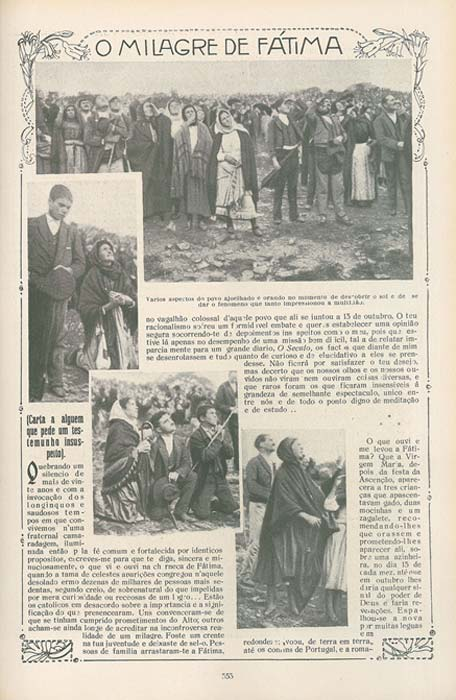 Page from Ilustração Portuguesa, 29 October 1917, showing the people looking at the Sun during the Fátima apparitions attributed to the Virgin Mary.