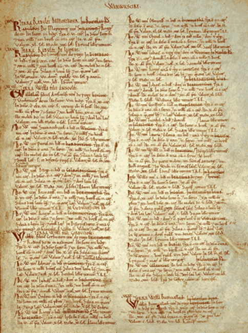 Page from the Domesday Book for Warwickshire, including listing of Birmingham. (Public Domain)