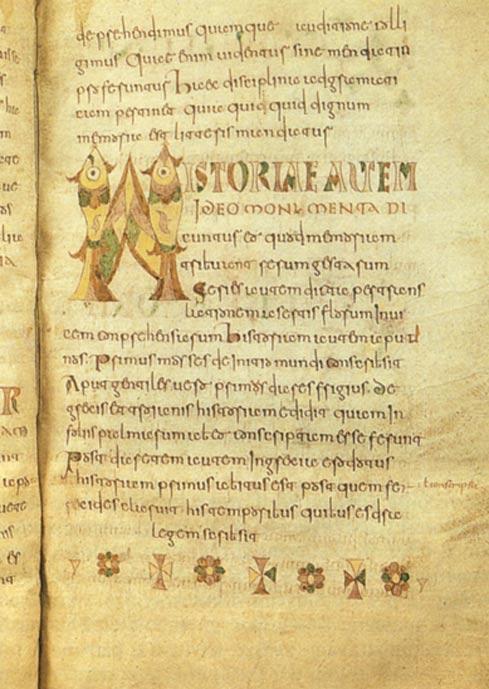 Page of Etymologiae, Carolingian manuscript (8th century), Brussels, Royal Library of Belgium.