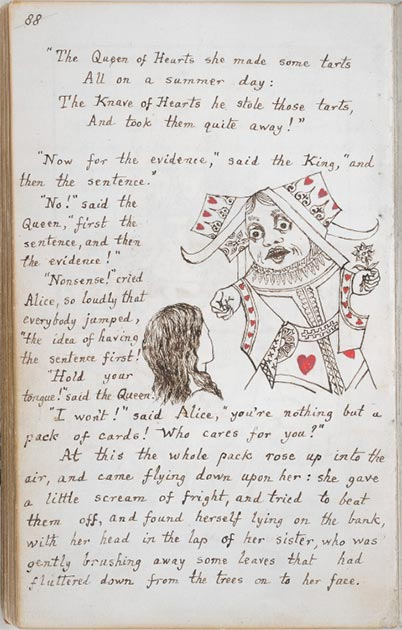 Page from the original manuscript copy of Alice's Adventures Under Ground, 1864. (Andrew Gray / Public Domain)