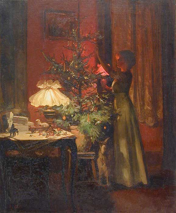 Painting from 1898 of a lady decorating a Christmas tree in France.