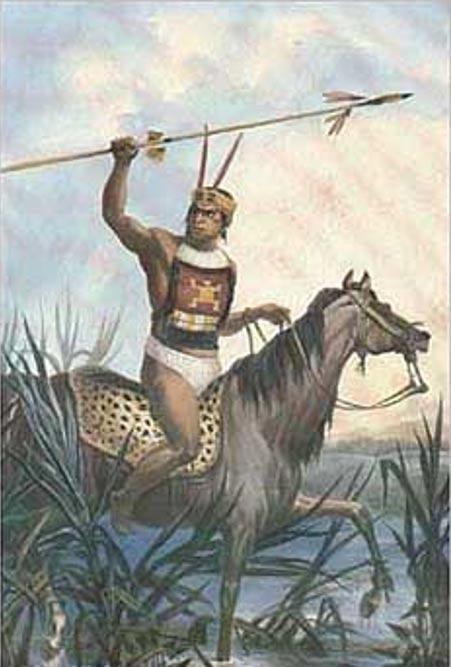 Painting of Charrua warrior, by Jean-Baptiste Debret