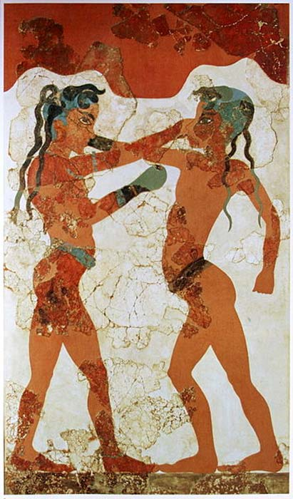 Painting of Minoan youths boxing from an Akrotiri fresco circa 1650 BC; the earliest documented use of boxing gloves. (Public Domain)