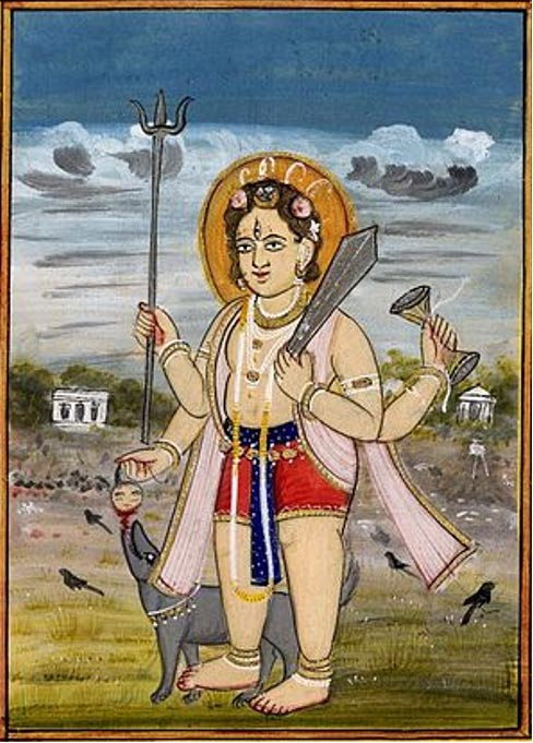 Painting of Shiva as Bhairava, carrying one of Brahma's heads.