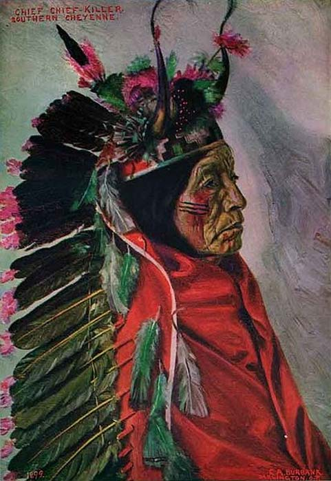 Painting of Southern Cheyenne chief Chief Killer by E.A Burbank, 1899.
