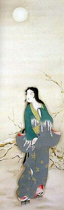 Painting of Yuki-onna in the moonlight.