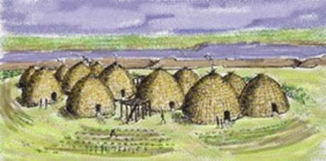 Painting of a Wichita village.