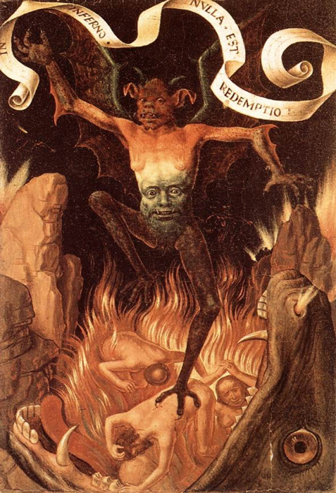 Painting of a demon in a form commonly attributed to Satan today. Triptych of Earthly Vanity and Divine Salvation, 1485. (Public Domain)