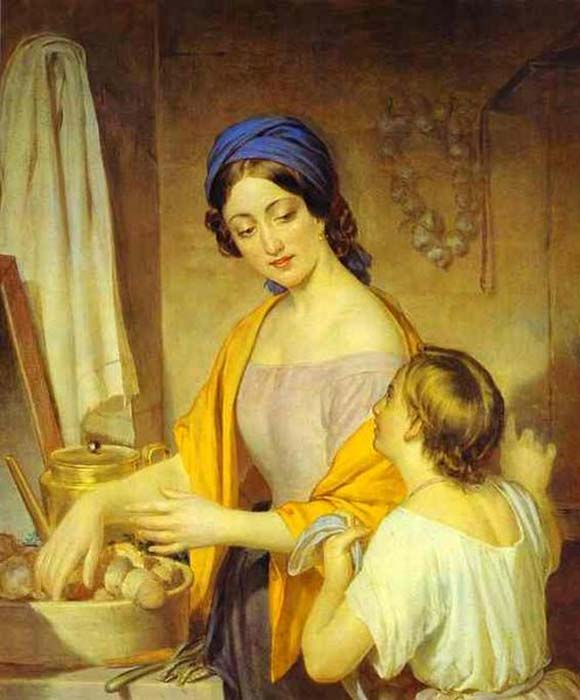 Painting of a young housewife by Alexey Tyranov.