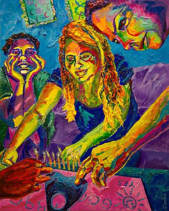 Painting of teen-aged girls playing with a Ouija board.